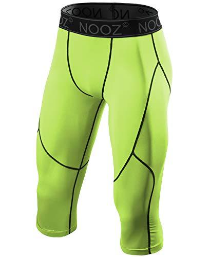 Nooz Men's Compression 3/4 Capri Pants Baselayer Legging Tights with Cool Dry Tech - Green, Medium]()