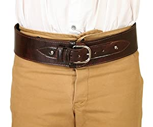 Men's Steampunk Costume Essentials Historical Emporium Mens Plain Leather Powder Belt $67.95 AT vintagedancer.com