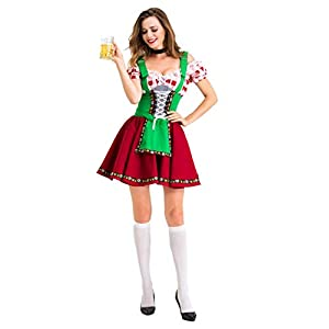 Colorful House Womens Oktoberfest Beer Maid Fancy Dress Costume