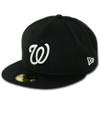 MLB Washington Nationals Black with White Logo 59FIFTY Fitted Cap, 7 5/8