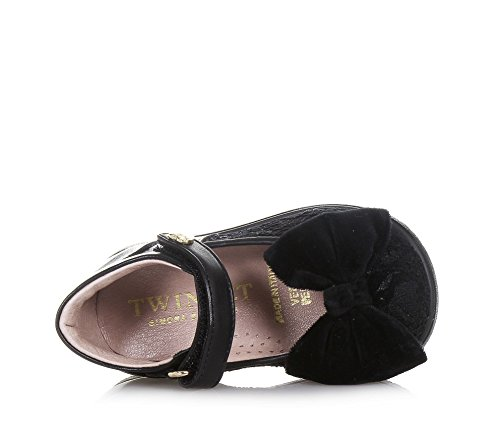 TWIN-SET - Schwarze Ballerina aus Leder und Samt, klassisch und elegant, einzigartiges Design Made in Italy, Mädchen-24