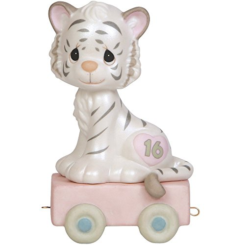 Precious Moments,  16 And Feline Fine, Birthday Train Age 16, Bisque Porcelain Figurine, (Family Porcelain Figurine)