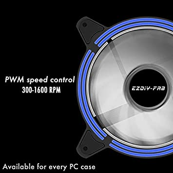 EZDIY-FAB 120mm Dual-Frame LED Case Fan for PC Cases,High Airflow Quiet,CPU Coolers,and Radiators,3-Pin-3-Pack LED Fan White