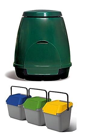 Juego completo reciclaje para casa y jardín – Composter 310 l y Tris de EasyMax 35 Lt