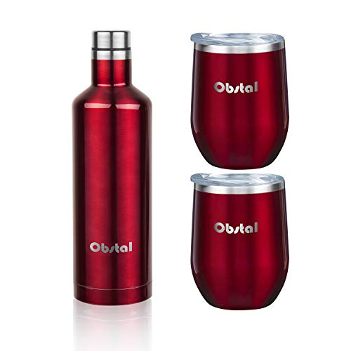 (Obstal Insulated Wine Growler & 2 Wine Tumblers Set - Stainless Steel Double Wall Vacuum Wine Canteen Bottle for Gift, 18 oz, Burgundy)