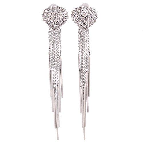 Bridal Platinum Plated or Gold Plated Crown Heart Teardrop Shape Tassel Earrings Clip on Earrings Non Piercing (heart platinum) (Wedding Chandelier Rhinestone Earrings)