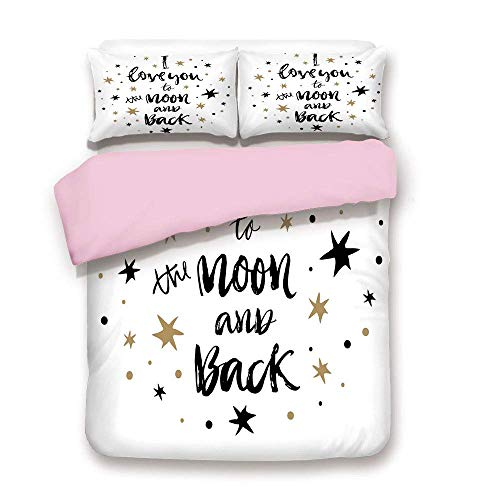 Pink Duvet Cover Set,Twin Size,Hand Drawn I Love You to the Moon and Back Quote with Stars Celebration Theme Fashion,Fashion 3 Piece Bedding Set with 2 Pillow Sham,Best Gift For Girls Women,Coco