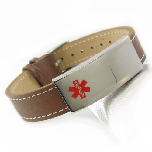MyIDDr Leather Medical ID Bracelet, Steel ID Plate (Types Of Dementia compare prices)