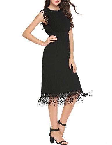 AL'OFA Women Fringe Sleeve High Waist Summer Party Dress Black XL Fringe Hem Dress