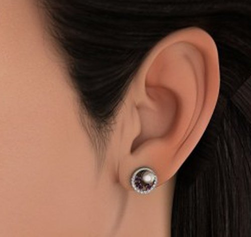 14K Or blanc 0.24CT TW Round-cut-diamond (IJ | SI) et améthyste et blanc perle Boucles d'oreille à tige