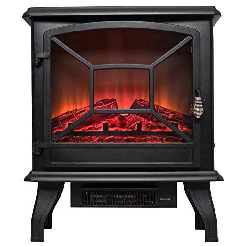 Cheap YXIUER Electric Stove Heater Fireplace with Realistic Log Wood Burning Flame 3D Effect and 2 Heat Settings - Portable Free Standing Space Heater 1600W - Black Black Friday & Cyber Monday 2019