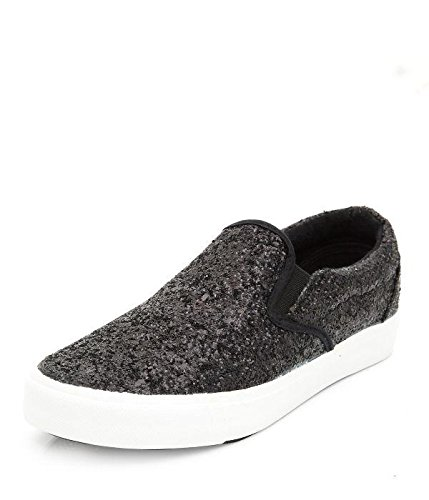 79237ee32910 Womens Black Glitter Slip On Plimsolls: Amazon.co.uk: Shoes & Bags