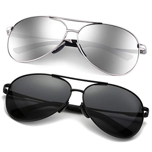 Polarized Aviator Sunglasses for Men - Feirdio Metal Frame Sports UV 400 Protection Mens Women Sunglasses 2261 (balck+silver, 2.36)