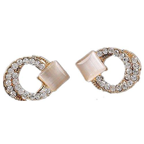 Ownsig 1 Pair Womens Wonderful Crystal Double-circle Rhinestone Ear Stud Earrings