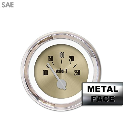 Gold Face, Silver Modern Needles, Chrome Bezels Aurora Instruments 2504 American Classic Assembled Water Temperature Gauge