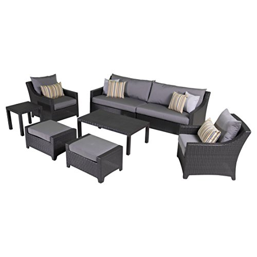 - RST Brands Deco 8-Piece Sofa and Club Chair Deep Seating Set with Cushions, Charcoal Grey