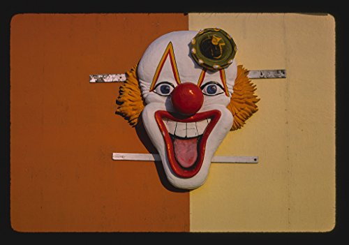 16 x 24 Gallery Wrapped Framed Art Canvas Print of Clown Ornament, Seaside Heights, New Jersey 1978 Roadside Americana Ready to Hang 38a