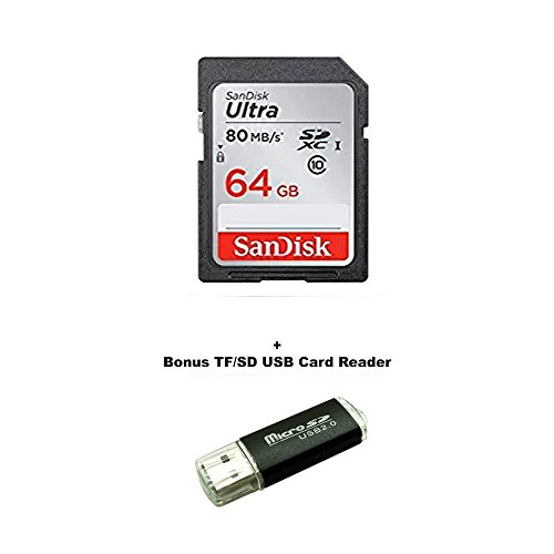 64GB Canon EOS Rebel T5 Memory Card SanDisk SD Ultra SD Memory Card 80mb/s with Bonus SD/TF USB READER by SanDisk
