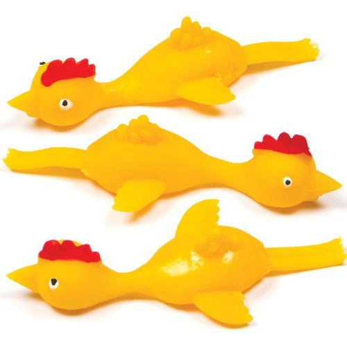 Baker Ross Stretchy Flying Chickens (Pack of 5) Perfect for Kids Party Bag Fillers or Gifting -