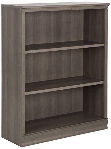 - South Shore Morgan Small 3-Shelf Bookcase - Adjustable Shelves, Grey Maple