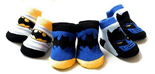DC Comics Batman Baby Booties Set, 3-Pack, 0-6 Months, Blue, Black, White, Yellow (Dc Cribs Baby)