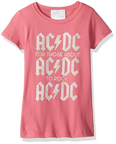 AC/DC Big Girls' ACDC About To Rock Short Sleeve T-Shirt, Hot Pink, S