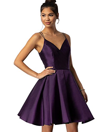 Women's Spaghetti Straps V-Neck A-line Satin Short Prom Homecoming Dress Formal Evening Gown Size 2 Plum ()