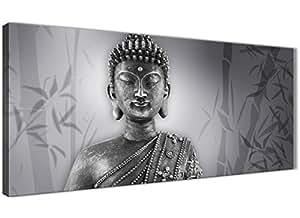 Blanco y Negro Buda Salón cuadros en lienzo accesorios–1373–120cm impresión Wallfillers