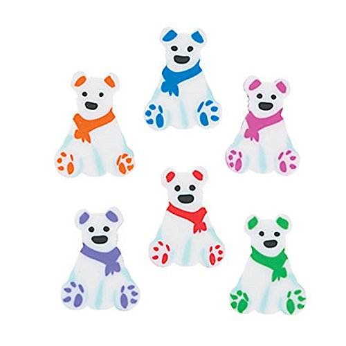 (24 ~ Polar Bear Mini Erasers ~ Approx. 1/2
