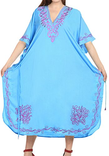 LA LEELA PV Solid Long Caftan Dress Women Light Blue_1022 OSFM 14-32W [L-5X] by La Leela