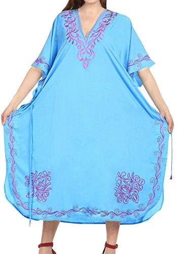 LA LEELA PV Solid Long Caftan Dress Women Light Blue_1022 OSFM 14-32W [L-5X] by La Leela