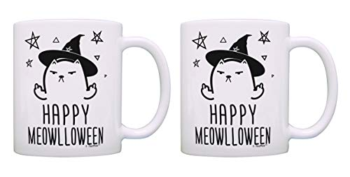 Halloween Mug Set Happy Meowlloween Middle Finger Cat Witch 2 Pack Gift Coffee Mugs Tea Cups White