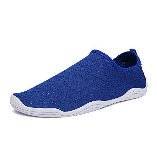 FCKEE Water Shoes Aqua Schuhe Slip-On Barfuß Leicht Leicht Quick-Dry Drainage Haltbare Sohle Mutifunktional für Beach Pool Surfen Frauen Männer D-blau