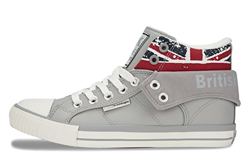 5 UNION LT 10 Kids' Knights Jack Hi GREY Blanc Unisex JACK Union British Roco Child Top Trainers UK 6PHxaWqfw