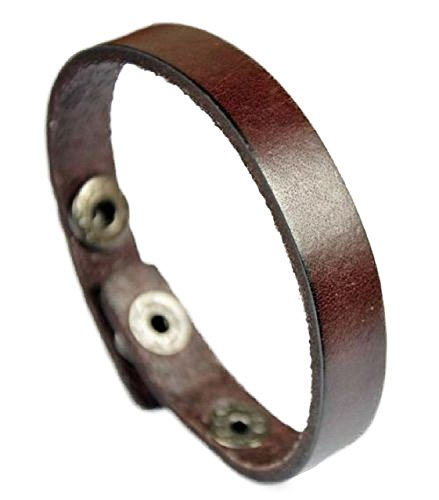 Personalized Leather - Free Engraving - Genuine Brown Leather Bracelet