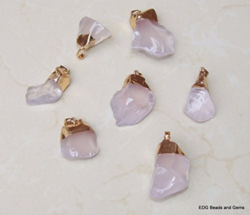Quartz Nugget Pendant - Rough Crystal Quartz - Natural - Raw - Tumbled - Gold Plated Bail. 35mm - 40mm