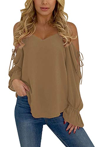 YOINS Cold Shoulder Long Sleeve Tops for Women Sexy Lace-up Chiffon Casual Loose T Shirt New-Khaki L