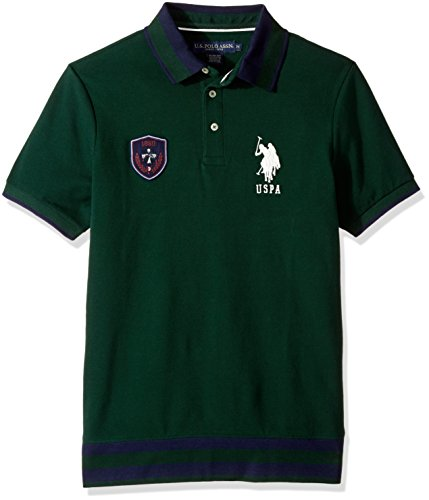 U.S. Polo Assn. Men's Slim Fit Solid Short Sleeve Pique Polo Shirt, 8476-Park Green, - Park Polo Shops
