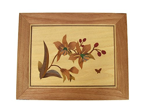 Taisamlu Handmade Wood Veneer Inlay Marquetry/Intarsia Wall Hanger Picture Home Decor X'Mas Mother's Day Birthday Gift (25cmX20cm, Orchid) ()