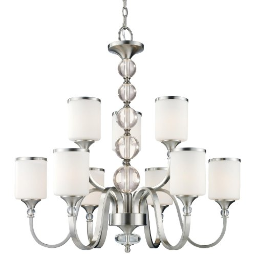 Z-Lite 308-9-BN Cosmopolitan Nine Light Chandelier, Metal Frame, Brushed Nickel Finish and White Shade of Glass - Cosmopolitan Frames