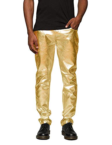 COOFANDY Mens Metallic Shiny Jeans Party Dance Disco Nightclub Pants Straight Leg Trousers (M, Luxurious Golden)]()