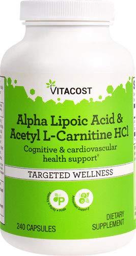 Vitacost Alpha Lipoic Acid & Acetyl L-Carnitine HCl -- 1,600 mg per serving - 240 Capsules (Quantity of 1)