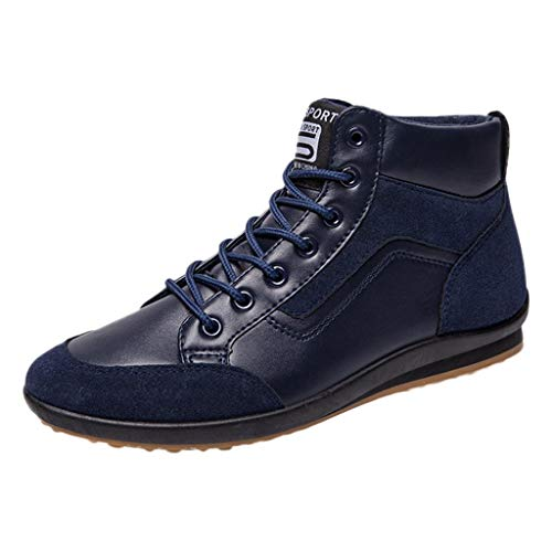 (COPPEN Men Shoes Fashion Boots Footwear Sneakers High Top Casual Sports Boot Blue)