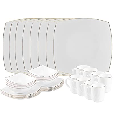 Matashi MTD13205G-2 Platinum Collection Opal Glass 32-Piece Dinnerware Set with Gold Rim – Heat Break Freeze Resistant-Dishwasher Safe – S - Our Platinum Collection opal glass dinnerware set is designed to withstand every day wear and tear to last you a long time. Each piece of our elegant glassware is dishwasher safe for easy cleaning. Not Microwaveable. With a sleek and elegant square design, Matashi Opal Glass Dinnerware is the ideal choice for any table setting. Thanks to the simple yet elegant design along with the high durability, this opal glass dinner set is great for any event, ranging from formal to fancy parties. - kitchen-tabletop, kitchen-dining-room, dinnerware-sets - 418%2BOA7rqBL. SS400  -