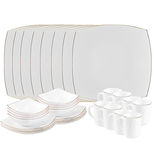 Matashi Opal Glassware White Dinnerware Set - Break Resistant- Freeze Resistant- Dishwasher Safe - Service for 8, Perfect set for Family Gatherings, Formal Dinner Parties, Parties and ()