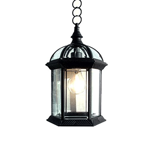 eTopLighting Contemporary Collection Exterior Outdoor Pendant Hanging Lantern with Beveled Clear Glass APL1023 (Outdoor Lighting Fixtures Pendant)