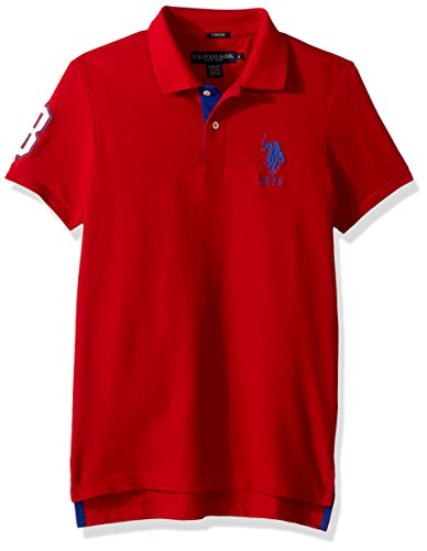 U.S. Polo Assn. Men's Short Sleeve Slim Fit Solid Pique Polo Shirt, Engine Red Kjbj, M (Pique Mens Solid Polo)