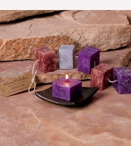 DecoGlow Naturals Dark Collection, Set of 5 Candles 2.5-Inch Square, Calming
