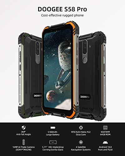 Telephone Portable Incassable, DOOGEE S58 Pro Smartphone Débloqué 4G, 5.71 Pouces, Android 10.0, 6Go+64Go, 16MP+16MP… 2
