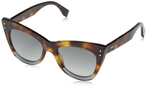 Fendi FF 0238 AB8 Color Block Havana Crystal Grey Plastic Cat-Eye Sunglasses Blue Gradient - Fendi Havana Sunglasses